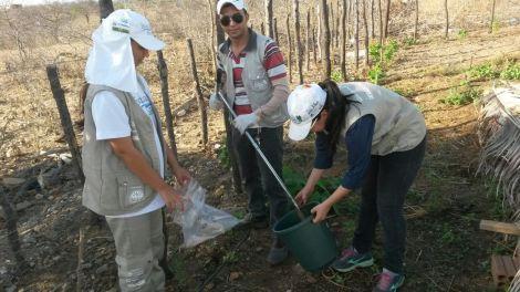 Estudantes realizam coleta de amostra de água